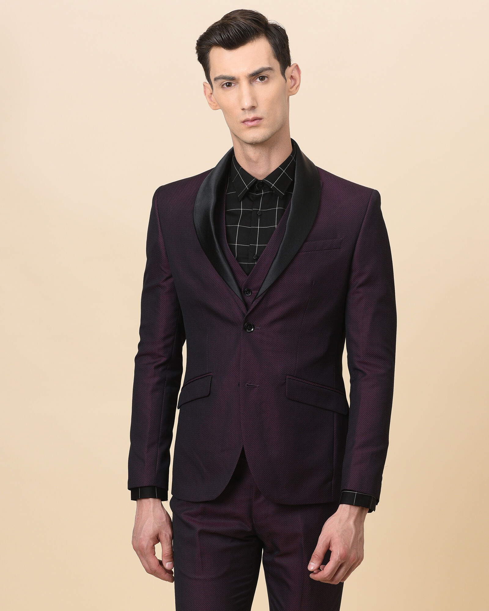 Wine Slim Fit Suits