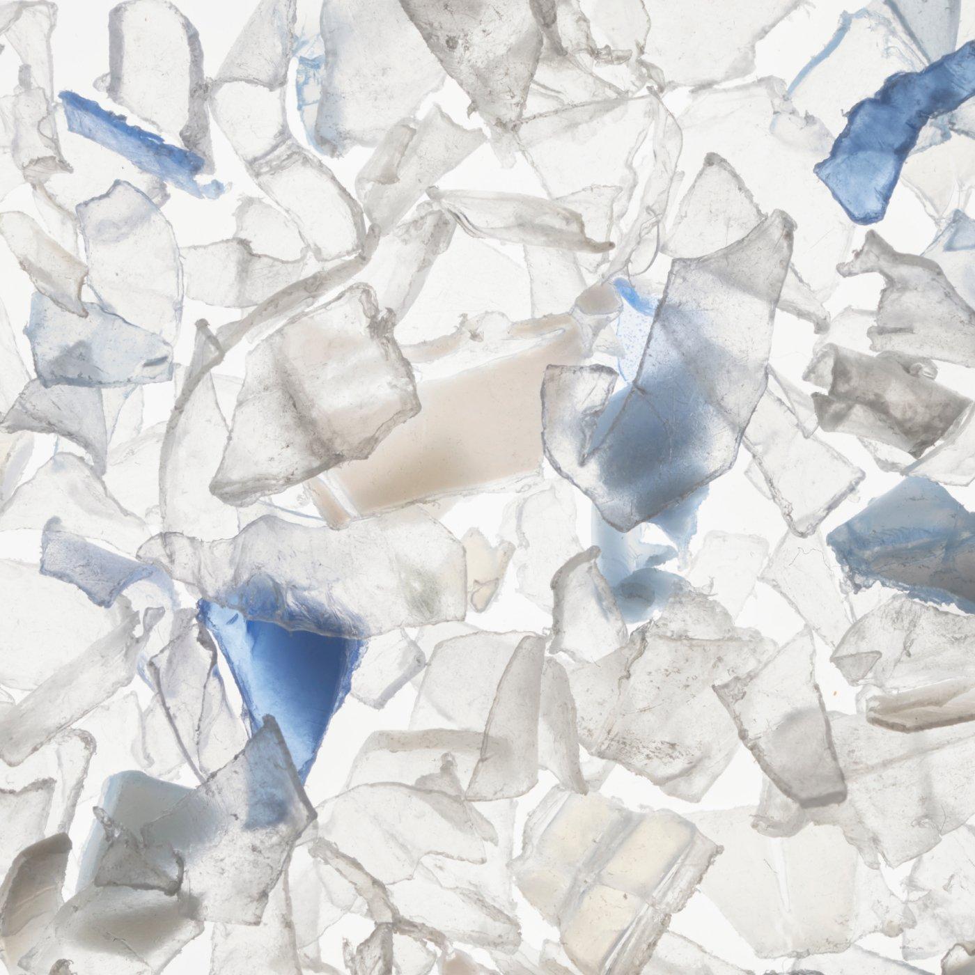 Broken pieces of plastic bottles for Rothy's plastic thread