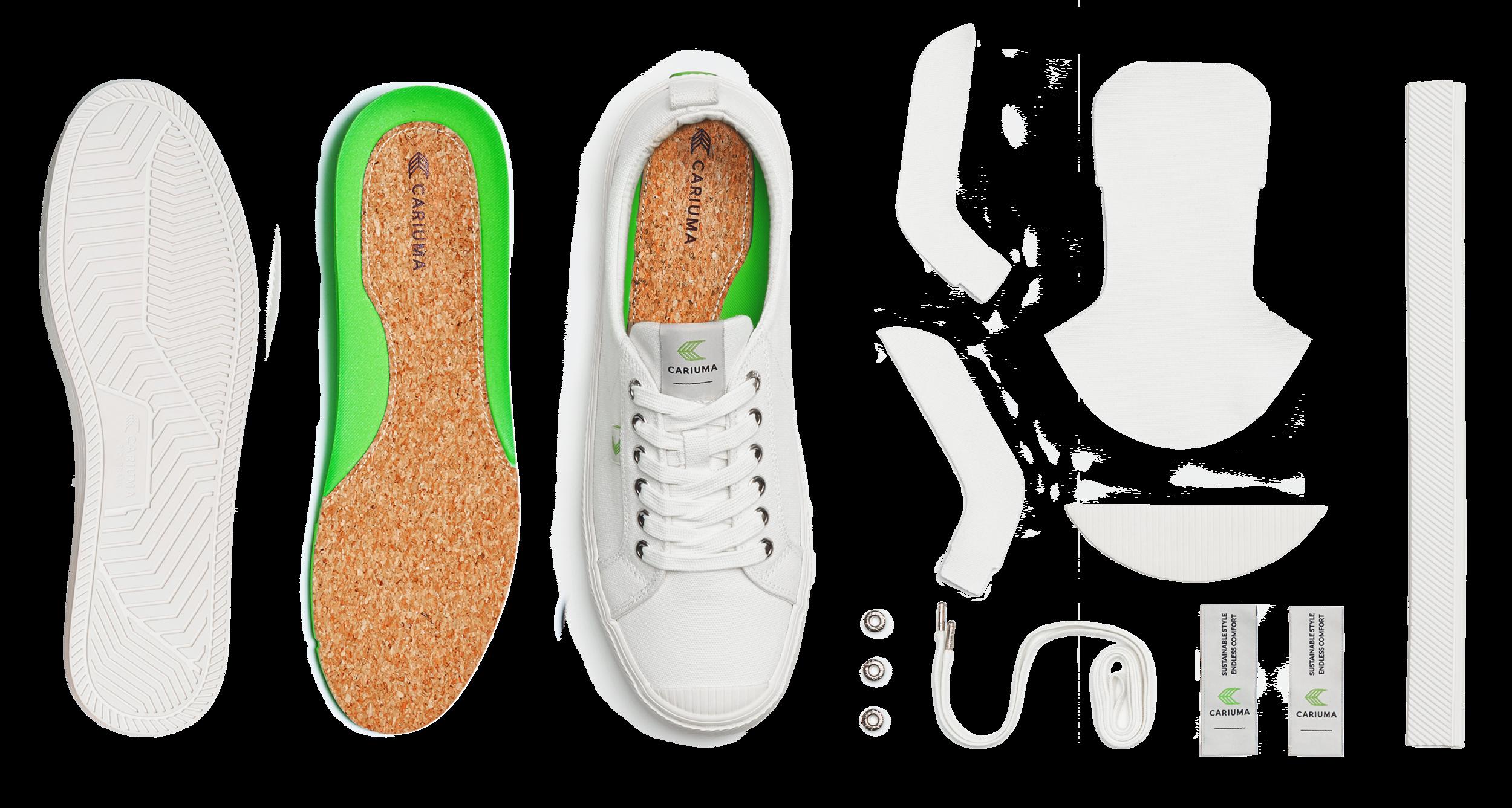 Components of Cariuma OCA Low shoe spread out