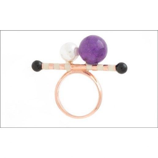 Immagine per Anello stick 1 pietra a sfera e perla - Gioelli - Ida Callegaro