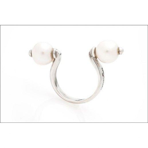 Immagine per Anello con perle d'acqua dolce (2 perle) - Gioielli - Ida Callegaro