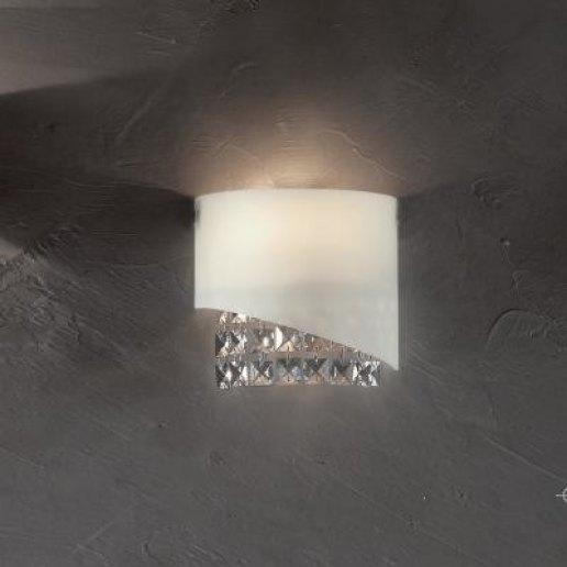Immagine per Venere cristalli trasparenti e neri piccolo bianco - Lampada da parete, Applique - E' LUCE