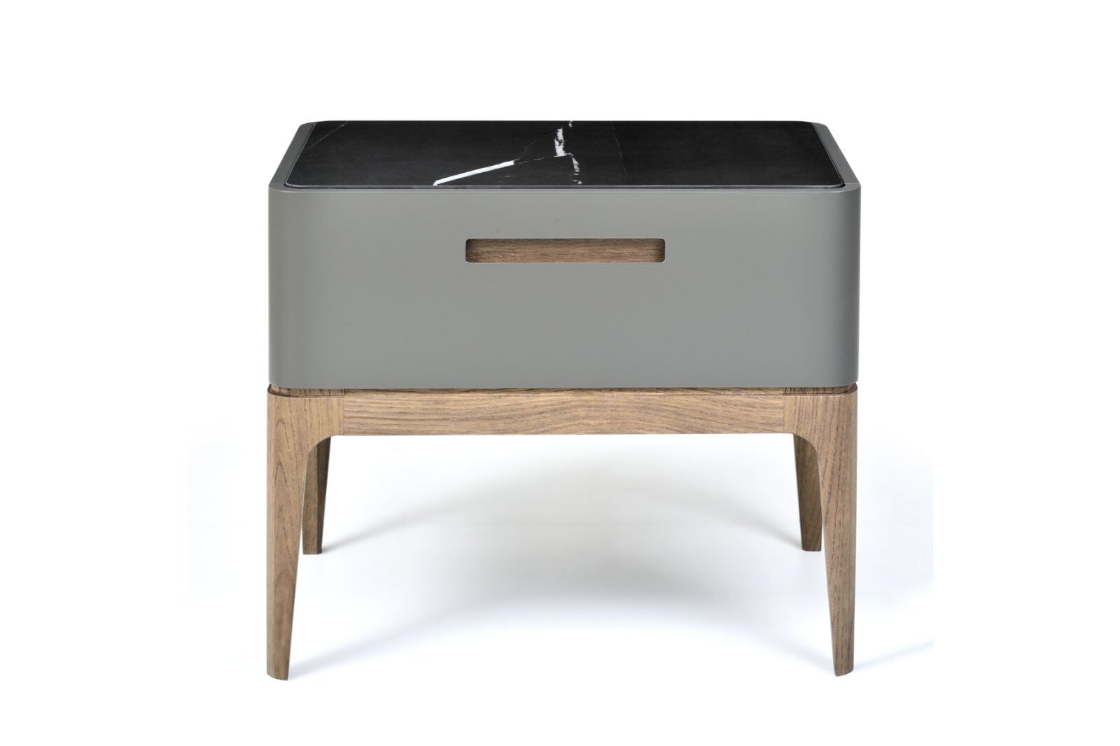 Eclipse Marble-effect Ceramic Top Bedside Table 60cm / 1