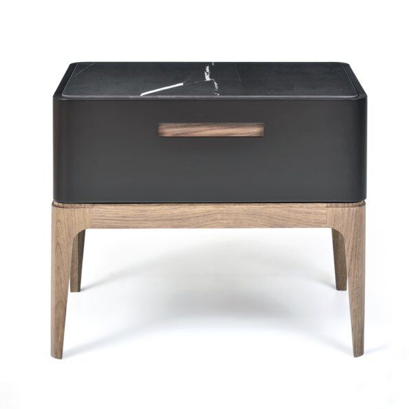 Eclipse Marble-effect Ceramic Top Bedside Table 60cm
