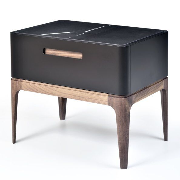Eclipse Marble-effect Ceramic Top Bedside Table 60cm / 2