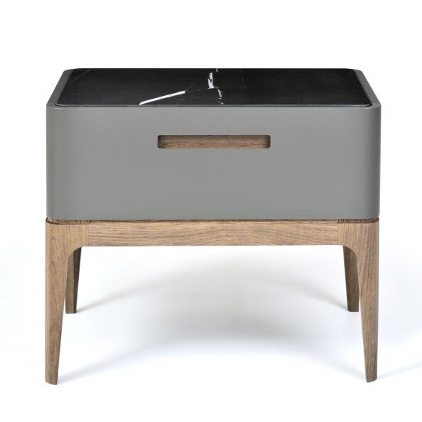 Eclipse Marble-effect Ceramic Top Bedside Table 50cm  / 2