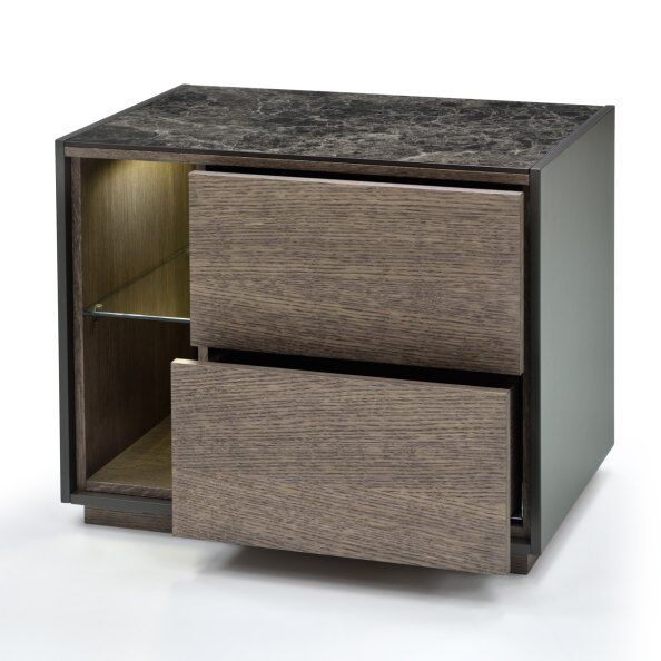 Tosca Marble-effect Top Bedside Table 60cm