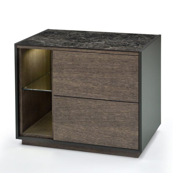 Tosca Marble-effect Top Bedside Table 60cm / 2
