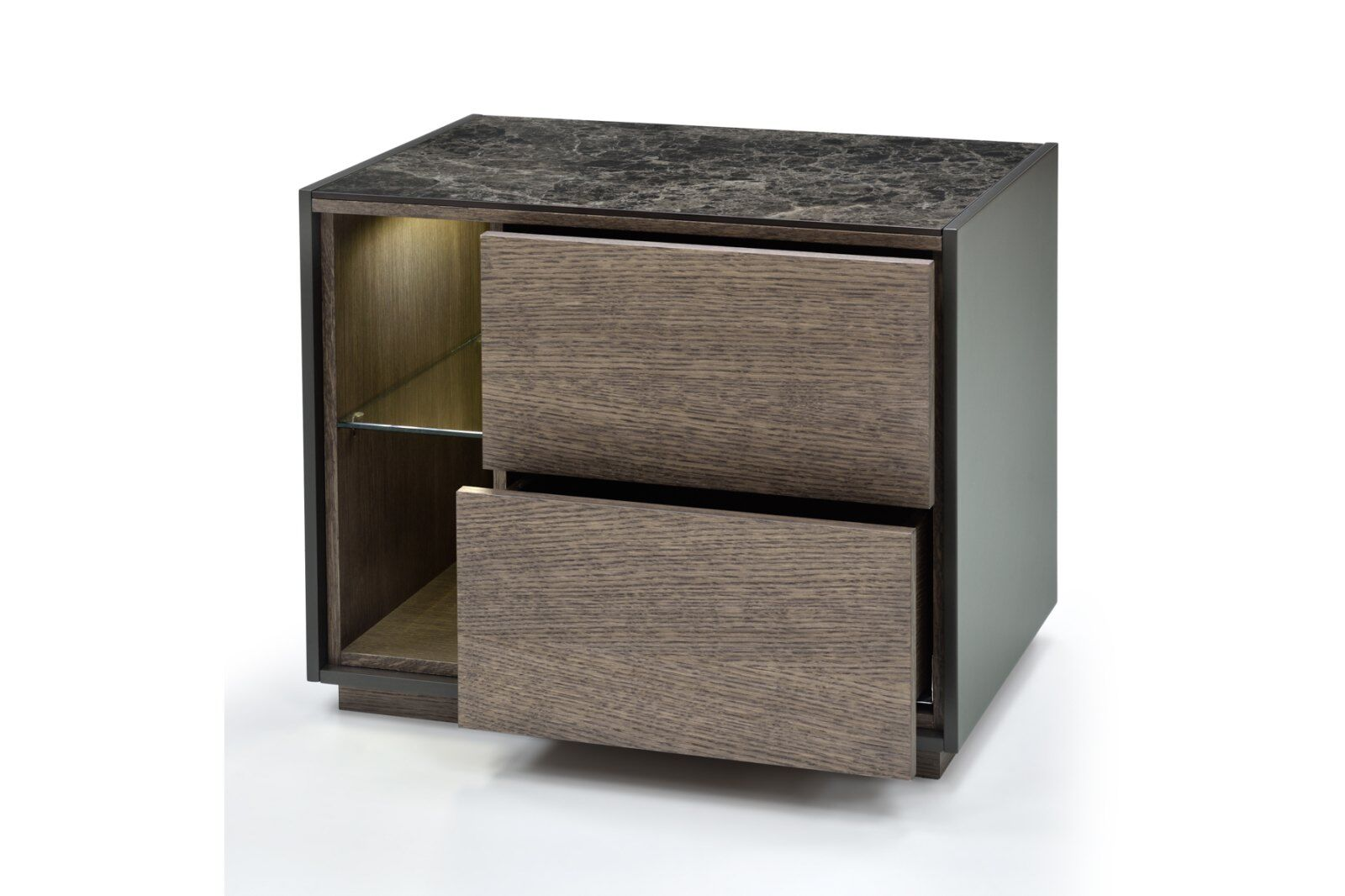 Tosca Marble-effect Top Bedside Table 60cm / 1