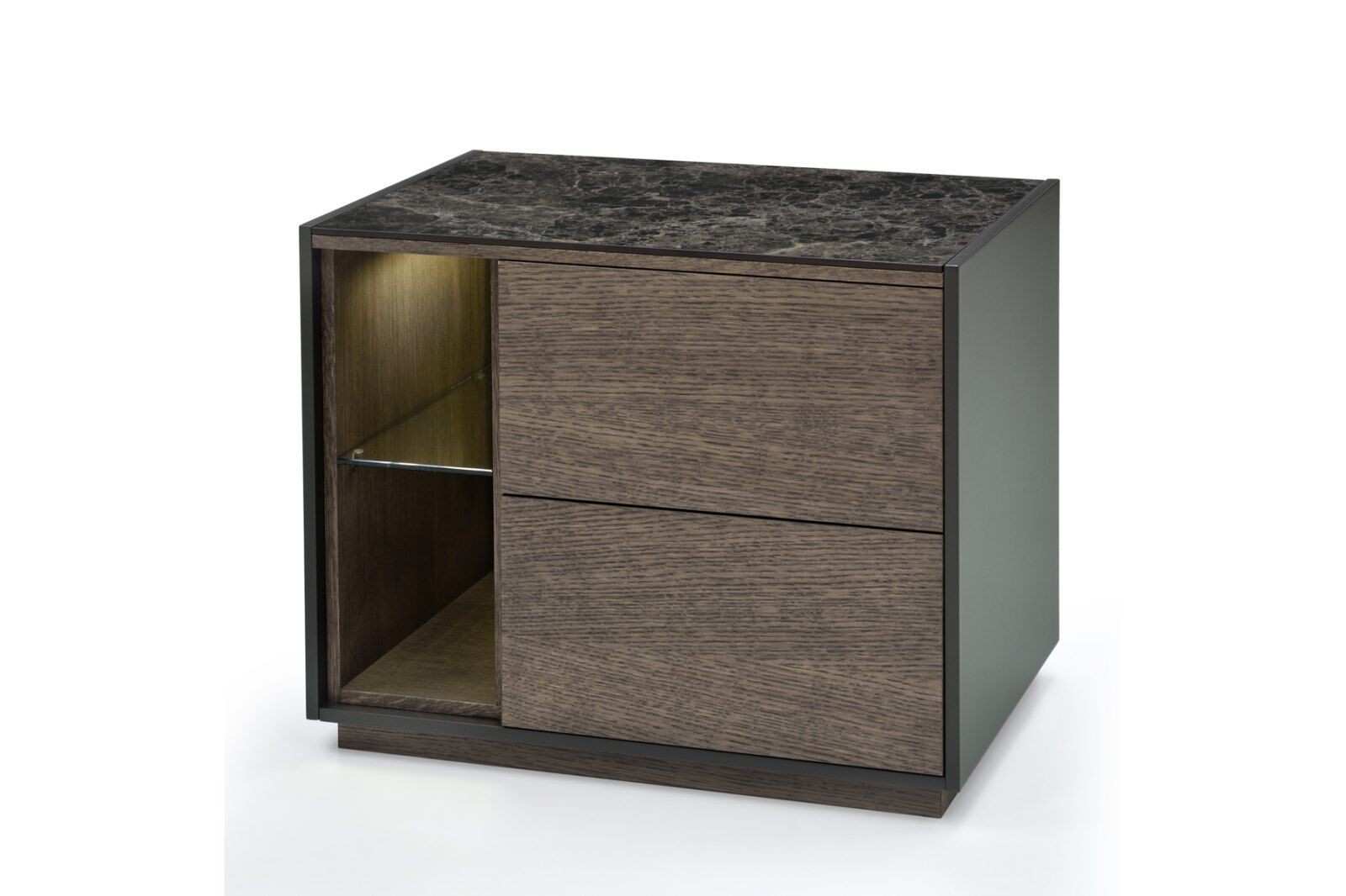 Tosca Marble-effect Top Bedside Table 50cm / 1