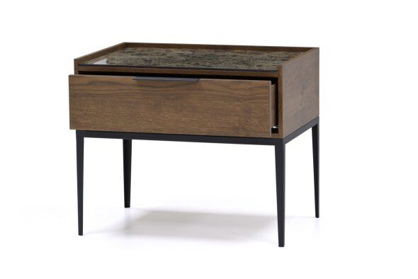 Moli Marble-effect Top Bedside Table 50cm
