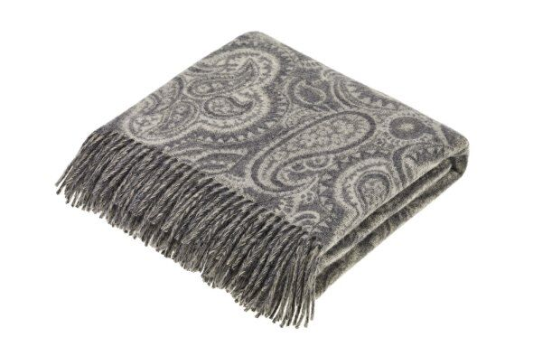 Bayswater Paisley Aqua Lambswool Throw