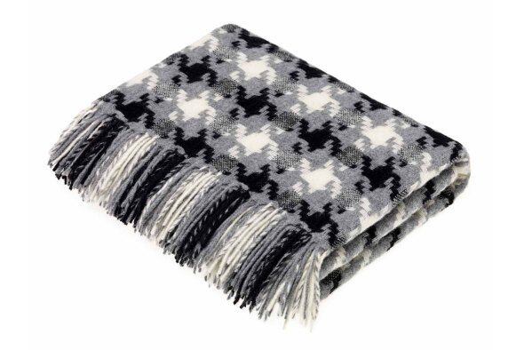 Houndstooth Charcoal Lambswool Throw