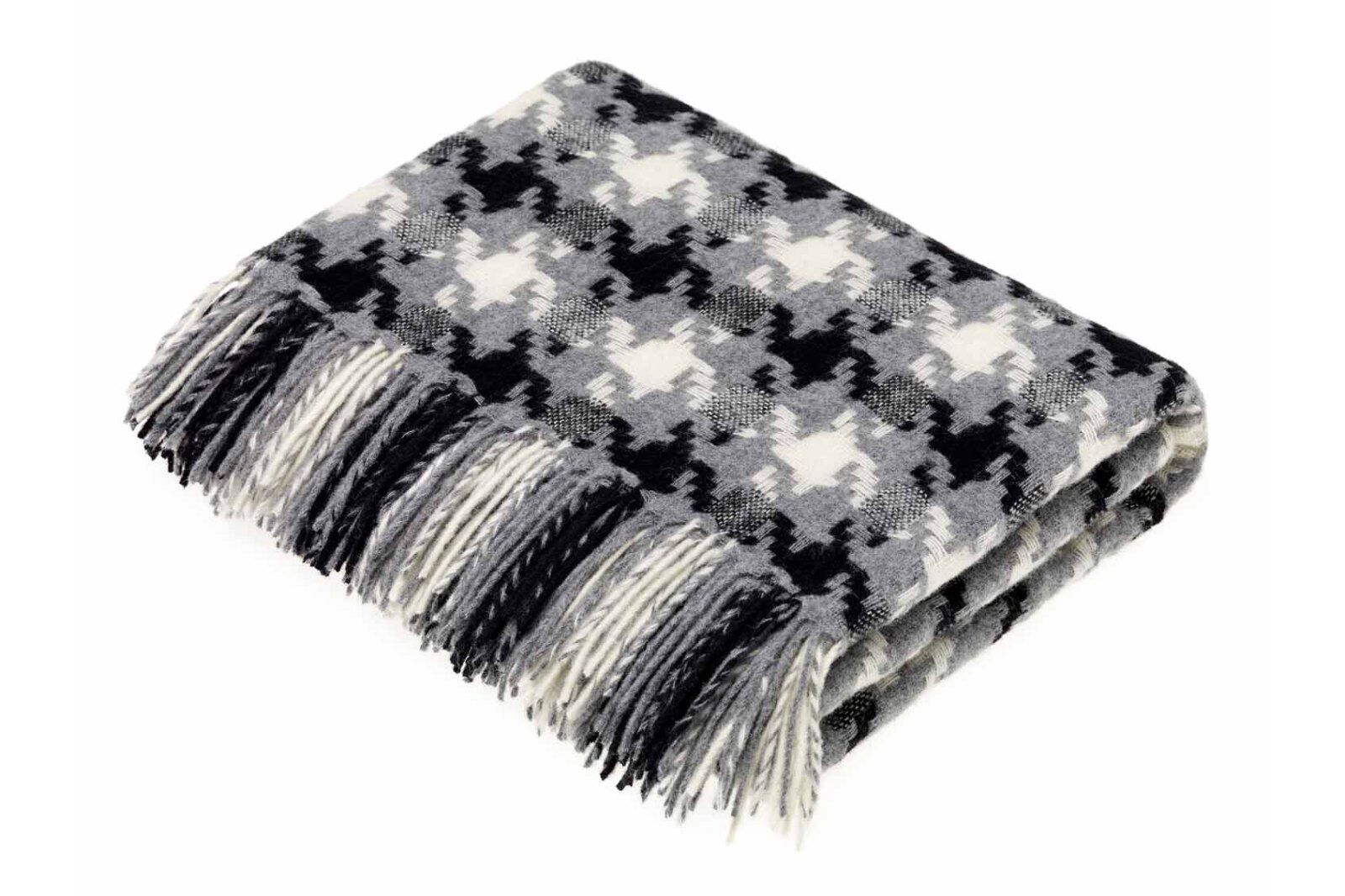 Houndstooth Charcoal Lambswool Throw / 1