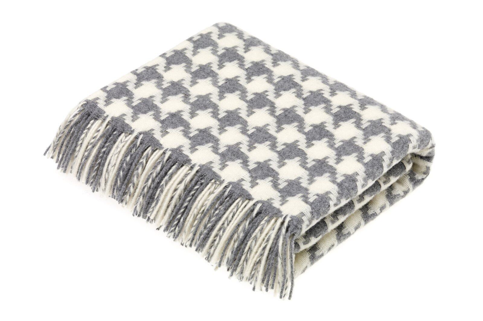Houndstooth Grey Lambswool Throw / 1