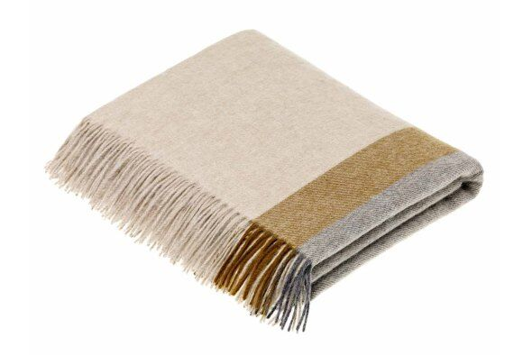 Harley Stripe Gold-Grey Lambswool Throw