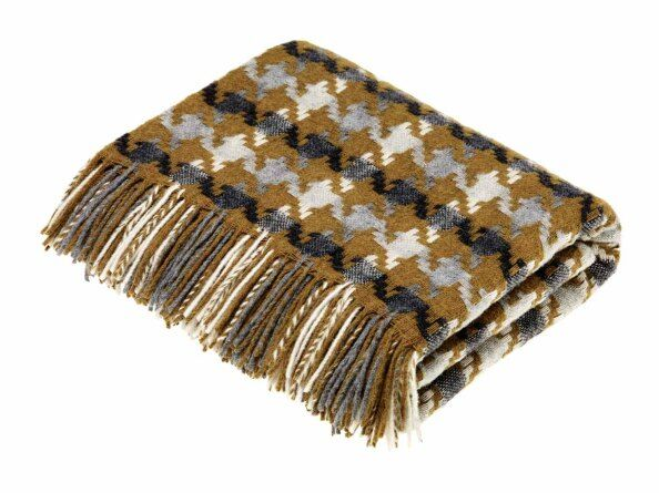 Houndstooth Gold-Grey Lambswool Throw