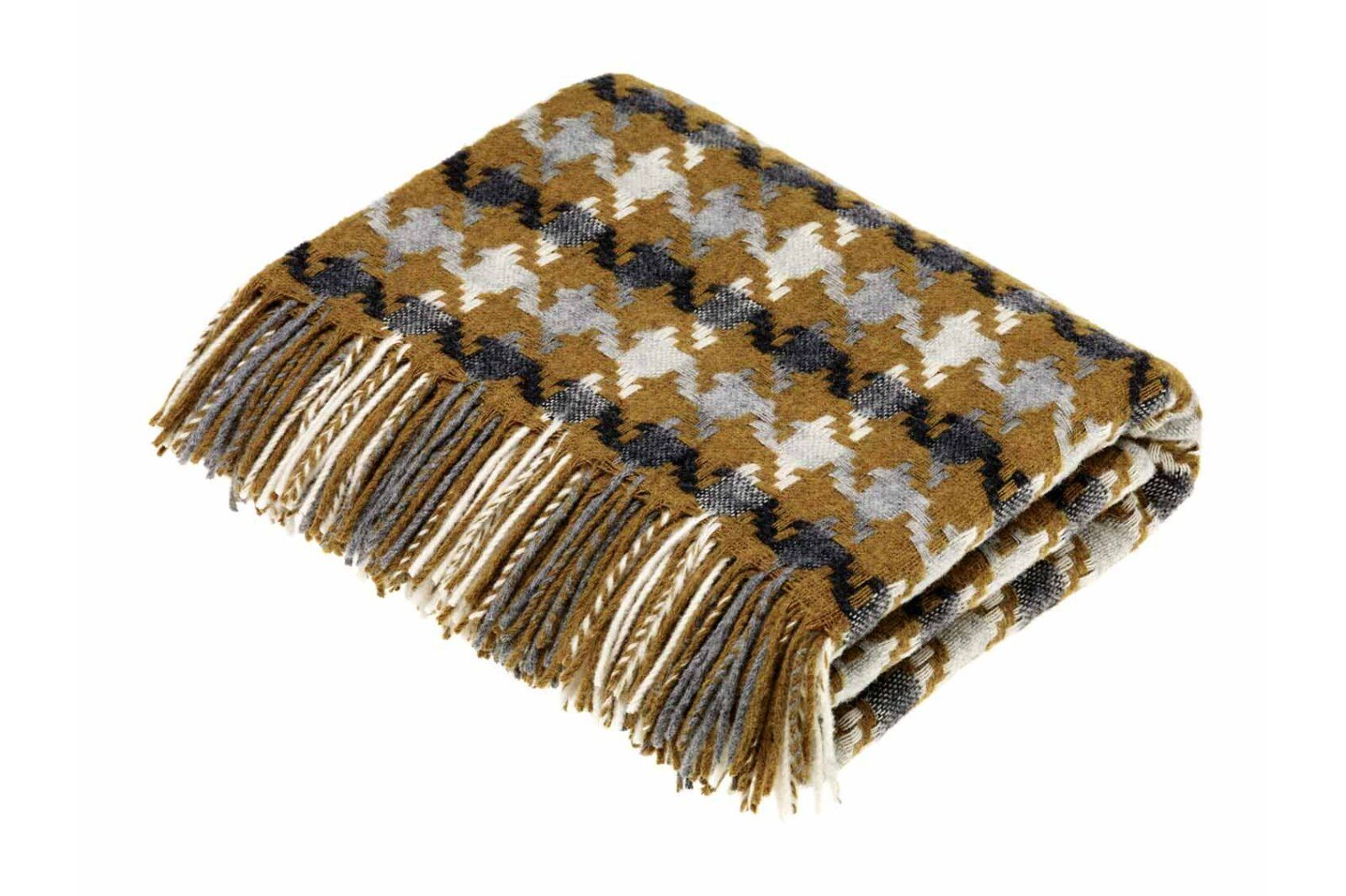 Houndstooth Gold-Grey Lambswool Throw / 1