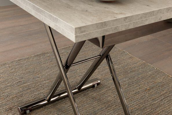 Tribeca Cement-effect Transforming Coffee To Dining Table 93/186cm / 2