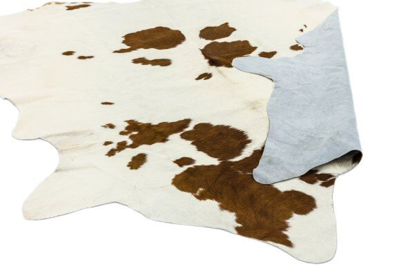 Divine Brown and White Leather Cowhide Rug  / 2