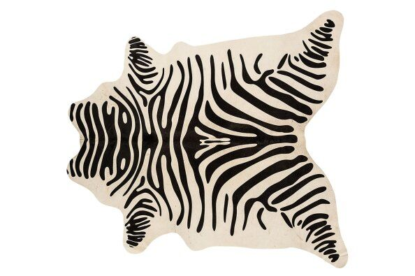 Divine Zebra Print Leather Cowhide Rug