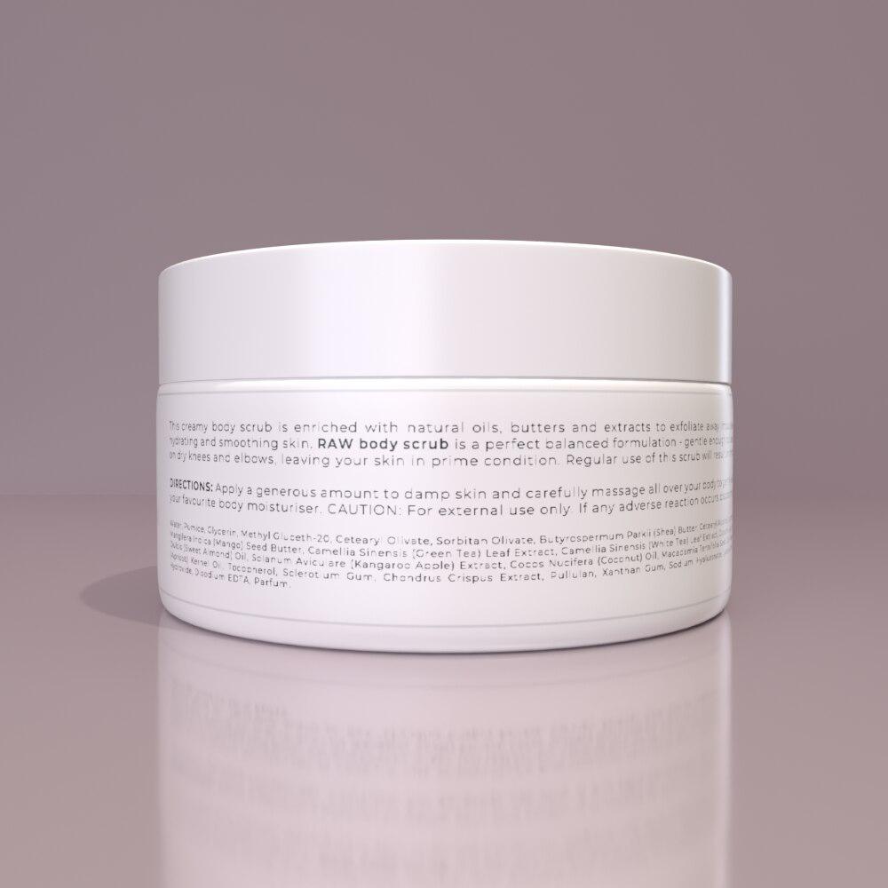 RAW BODY SCRUB - Exfoliates and hydrates for a rejuvenated, smooth skin