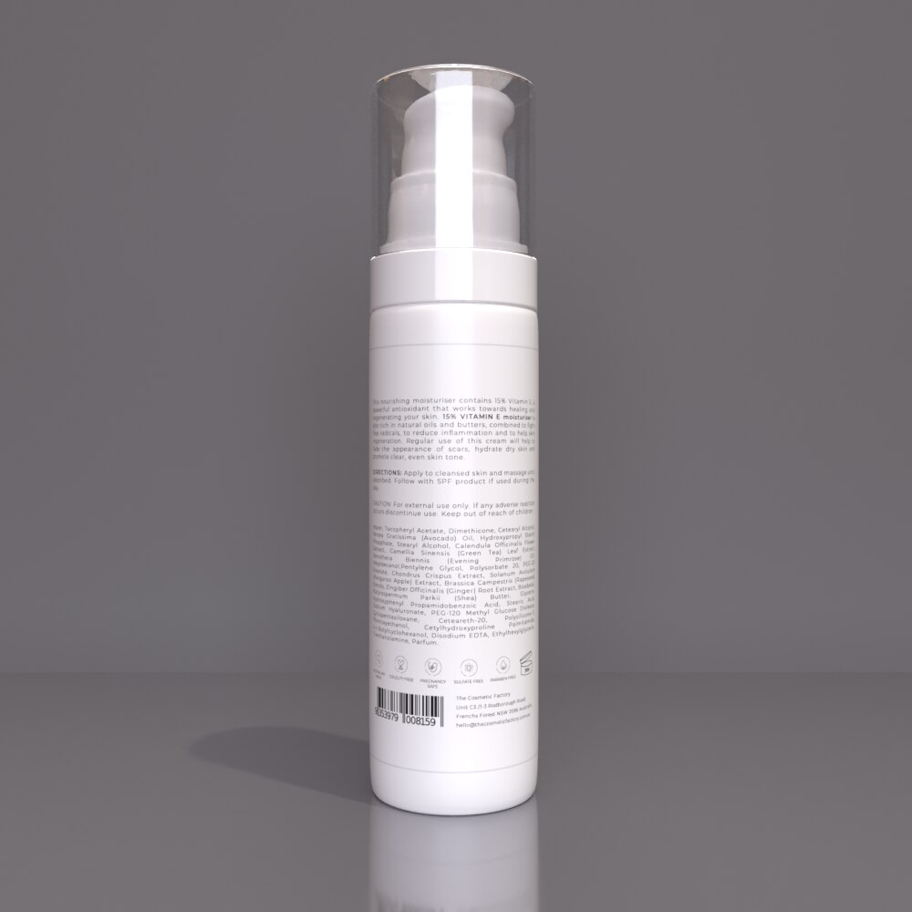 15% VITAMIN E MOISTURISER - Deeply hydrates and regenerates skin
