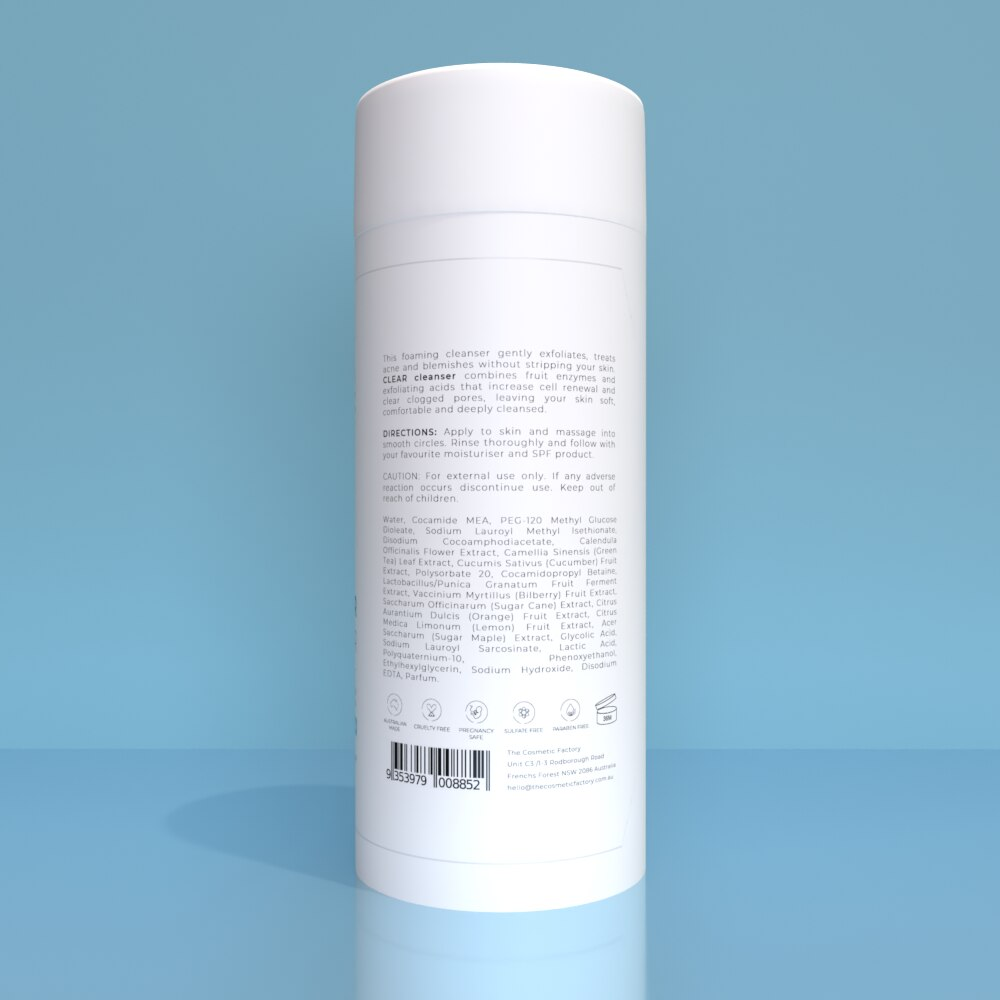 CLEAR CLEANSER - Gently exfoliates the skin, treating acne and blemishes