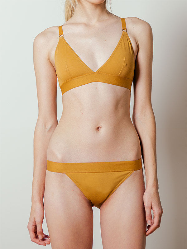 Triangle Cross-back Bra in Caramel by The Nude Label