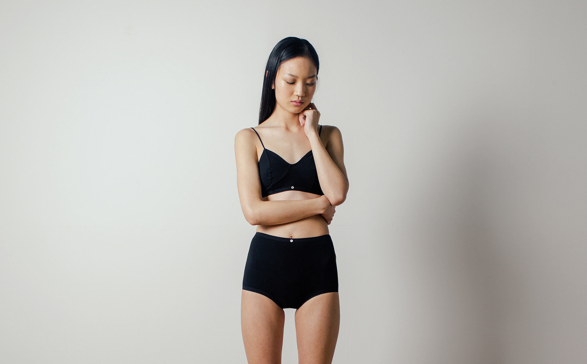 Aya Longline Bra in Black by Botanica Workshop