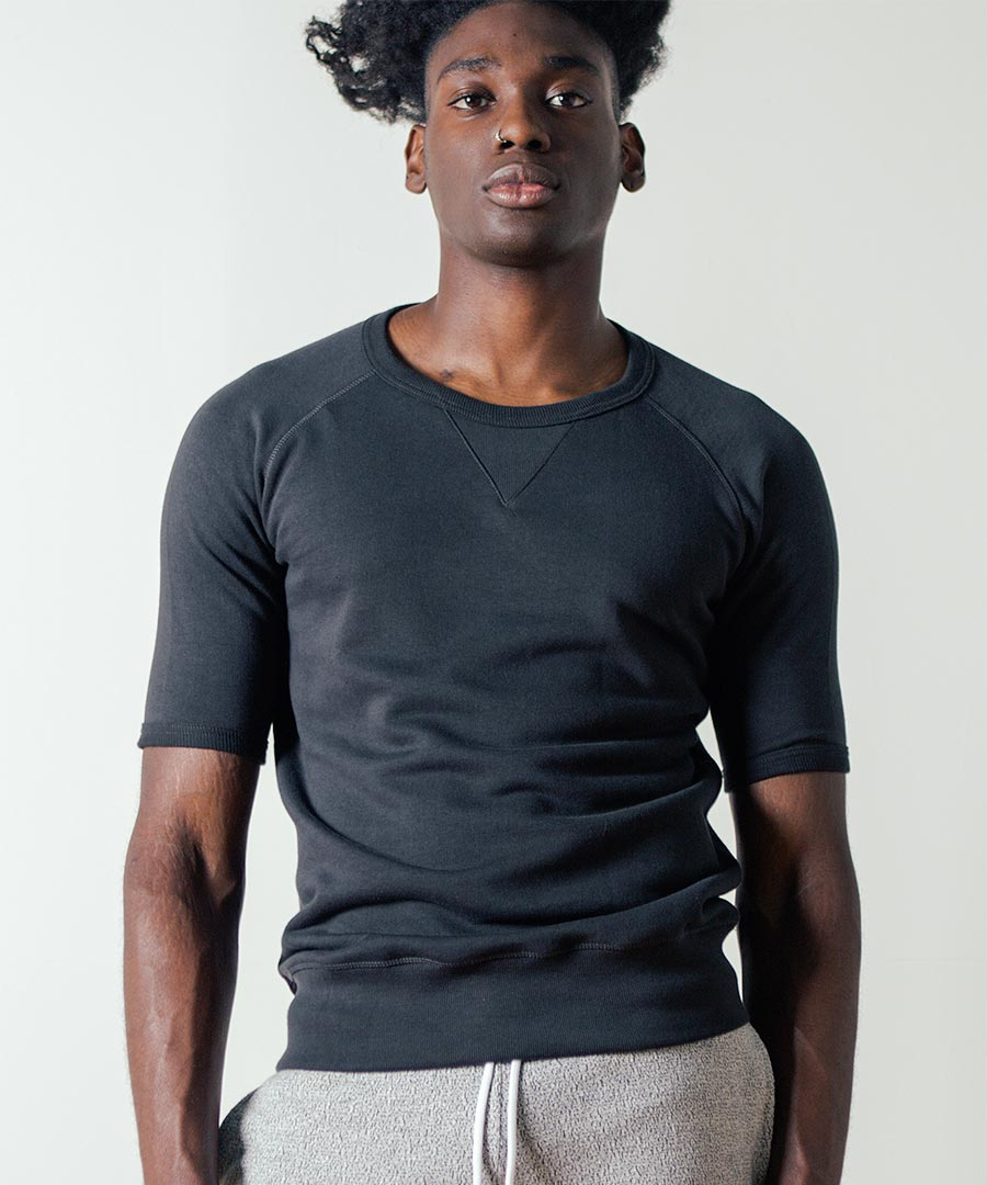 347 1/4 Sleeve Sweatshirt in Charcoal by Merz b. Schwanen